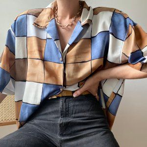 Vintage Grid Boxy Blouse Button Up Tunic
